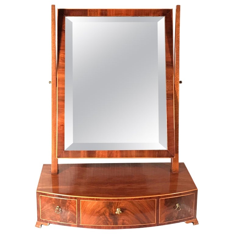 Biedermeier Bow Front Three Drawer Dressing Table Mirror, 1820-30 For Sale