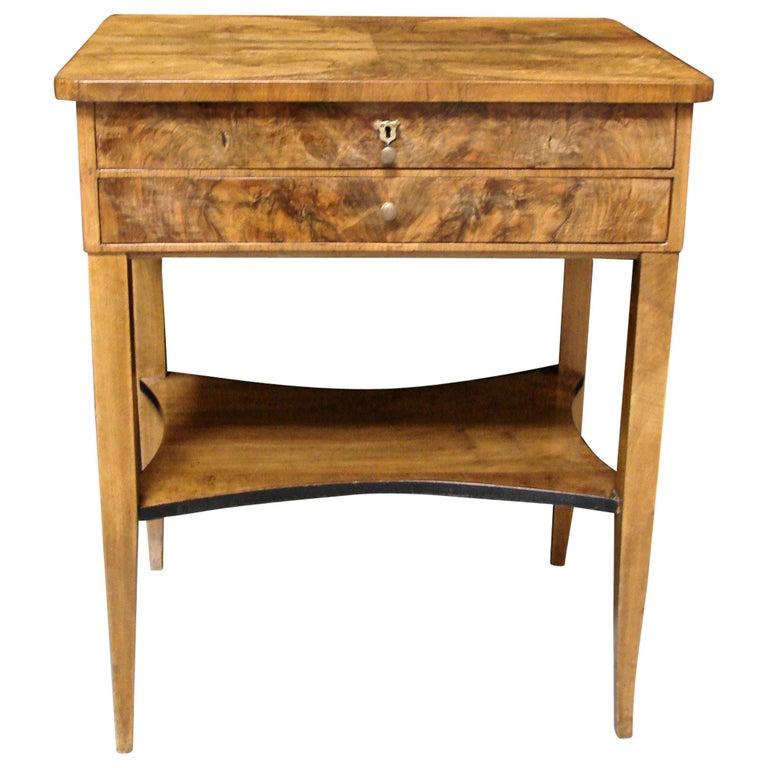 Biedermeier Burl Walnut Work Table with 2 Drawers and Lower Shelf For Sale