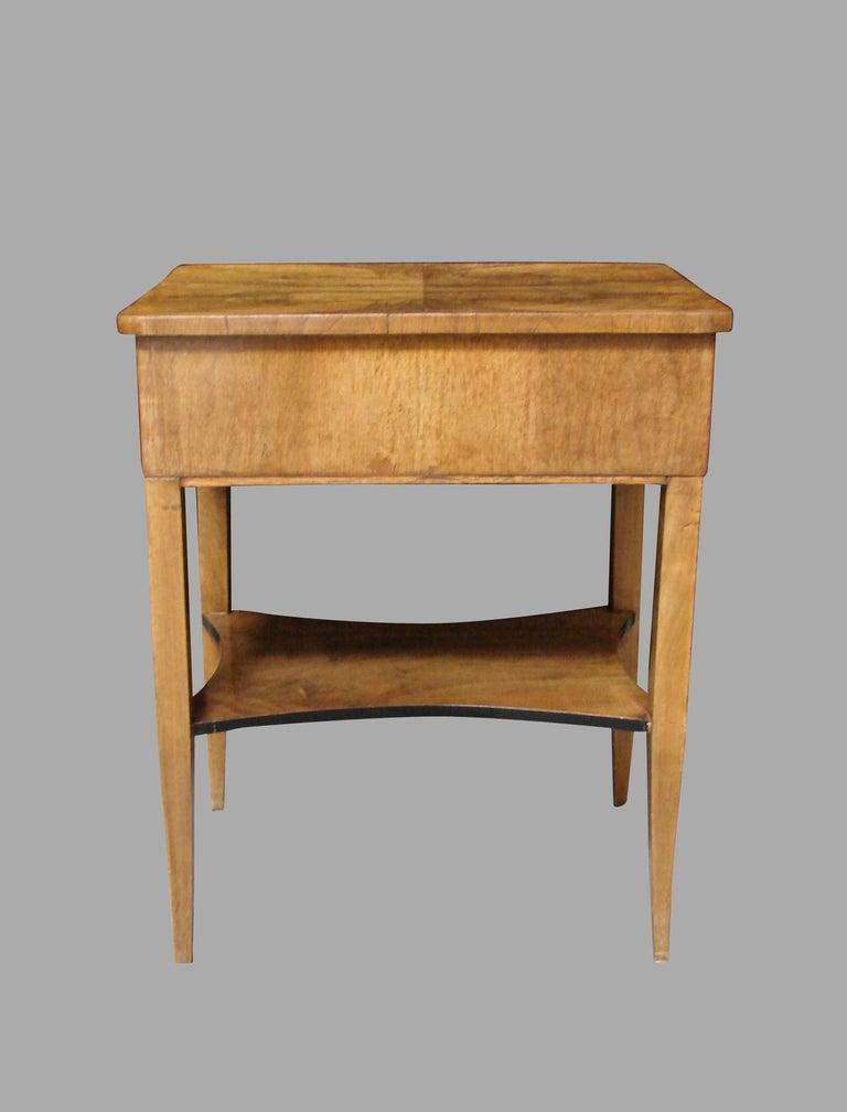 Austrian Biedermeier Burl Walnut Work Table with 2 Drawers and Lower Shelf For Sale