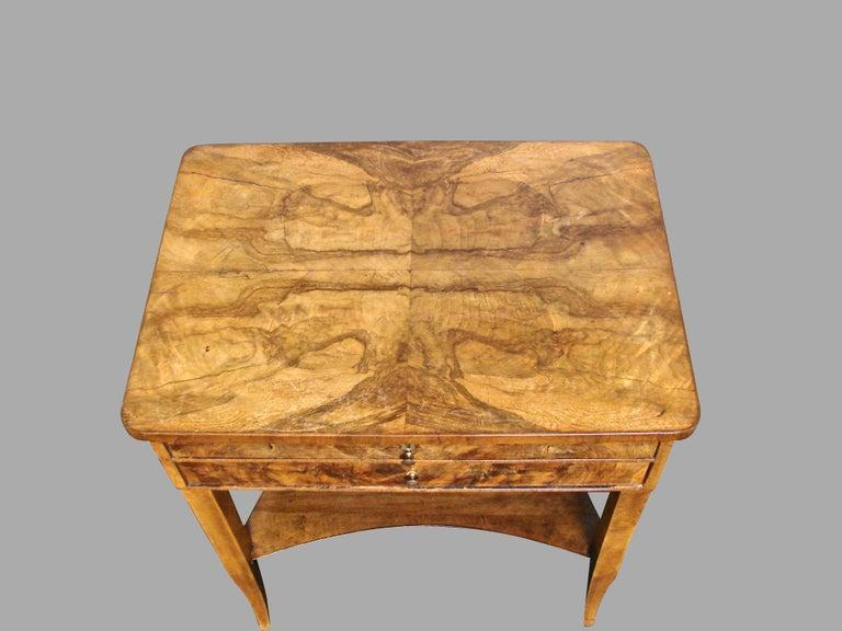 19th Century Biedermeier Burl Walnut Work Table with 2 Drawers and Lower Shelf For Sale