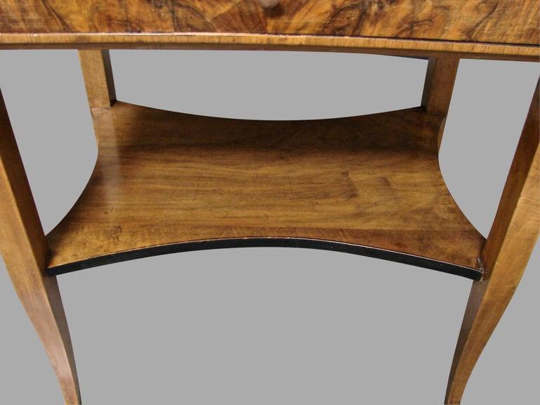 Biedermeier Burl Walnut Work Table with 2 Drawers and Lower Shelf For Sale 2