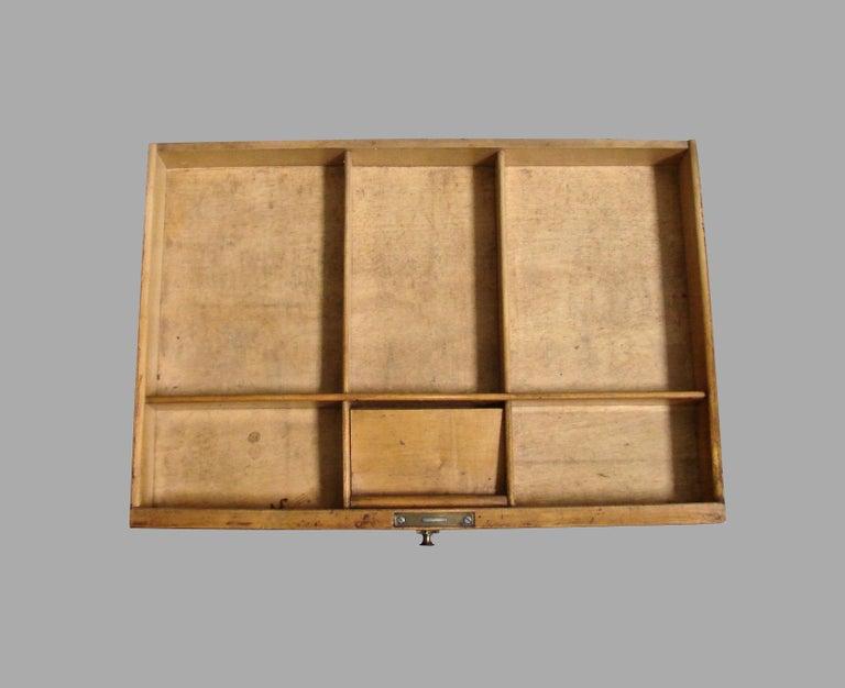 Biedermeier Burl Walnut Work Table with 2 Drawers and Lower Shelf For Sale 4