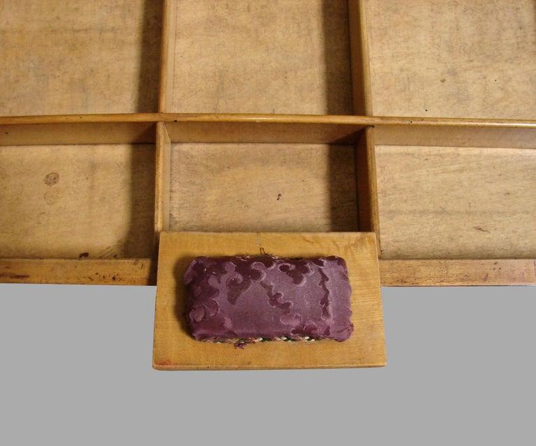Biedermeier Burl Walnut Work Table with 2 Drawers and Lower Shelf For Sale 5