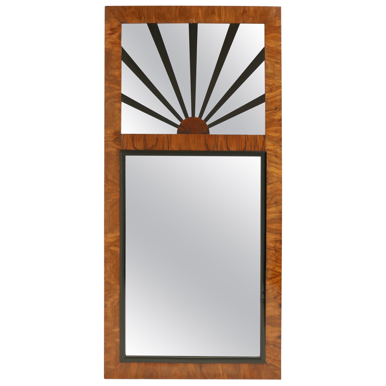 Biedermeier Burled Walnut Mirror, Austrian, 19th Century