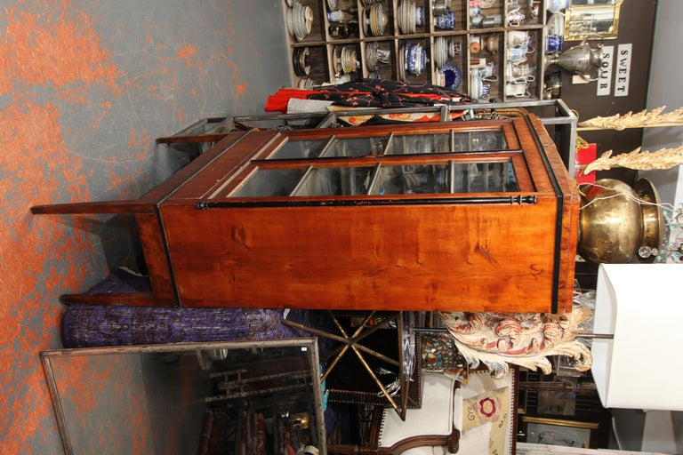 19th Century Biedermeier Cabinet on Legs with Old Glass Doors For Sale
