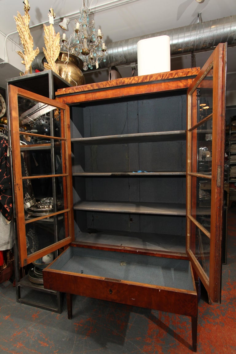 Biedermeier Cabinet on Legs with Old Glass Doors For Sale 1