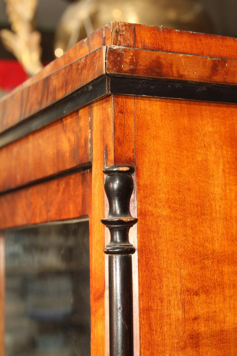 Biedermeier Cabinet on Legs with Old Glass Doors For Sale 4