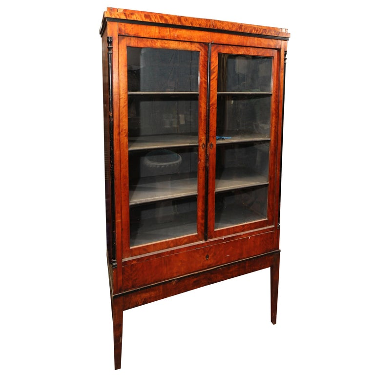 Biedermeier Cabinet on Legs with Old Glass Doors For Sale