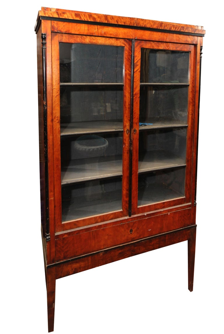 Biedermeier Cabinet On Legs With Old Glass Doors For Sale At 1stdibs