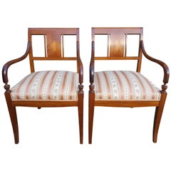 Biedermeier Carver Chairs Early 1900s Swedish Antique Marquetry Inlays Art Deco