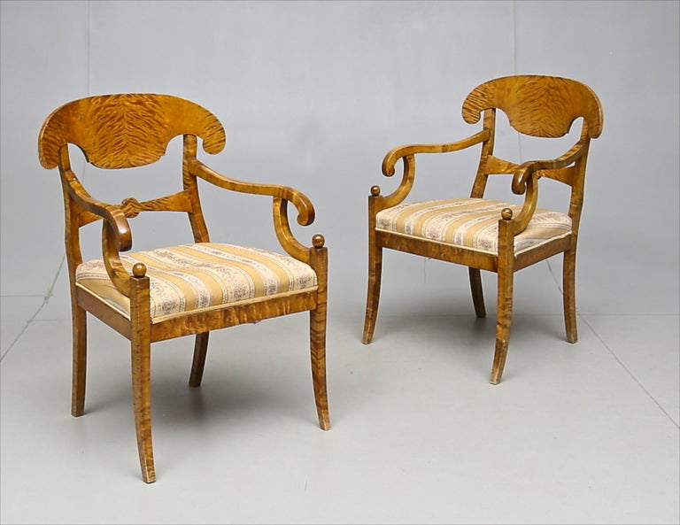 Carved Biedermeier Carver Chairs Late 1800s Swedish Antique Quilted Golden Birch For Sale