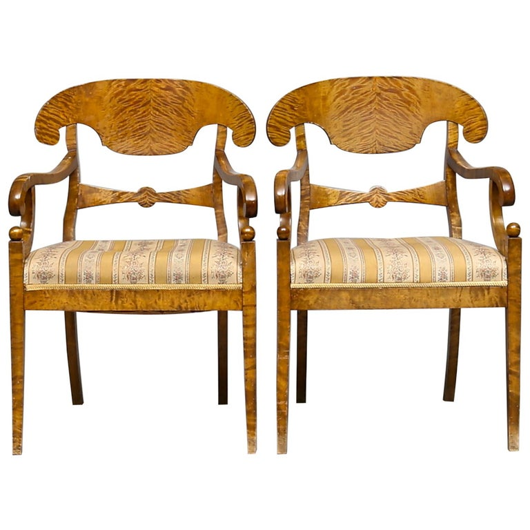 Biedermeier Carver Chairs Late 1800s Swedish Antique Quilted Golden Birch For Sale