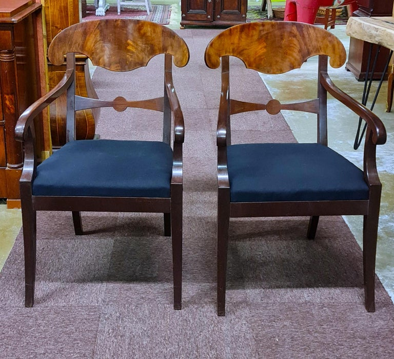 Biedermeier Carver Chairs Late 1800s Swedish Antique Quilted Mahogany In Good Condition For Sale In LONDON, GB