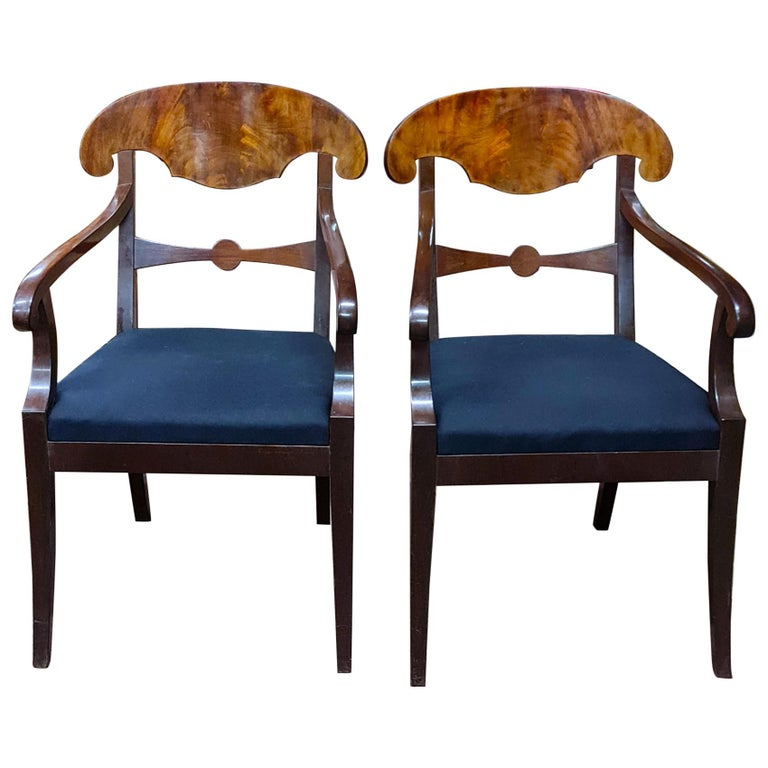 Biedermeier Carver Chairs Late 1800s Swedish Antique Quilted Mahogany For Sale