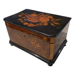 Biedermeier Box, Ebony, Walnut and Inlays, South Germany, circa 1850