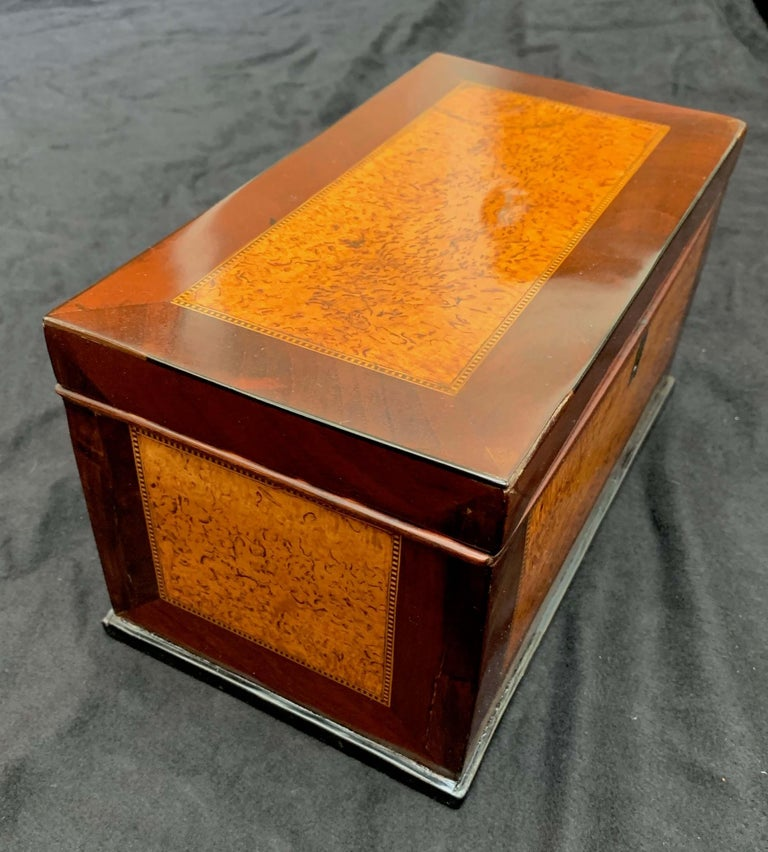 Inlay Biedermeier Casket Box, Thuja Roots and Mahogany, Germany, 19th Century For Sale
