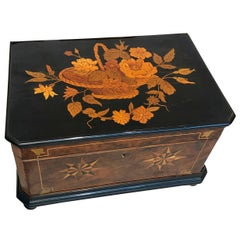 Biedermeier Casket Box, Walnut/Ebony and Inlays, South-West Germany 19th Century
