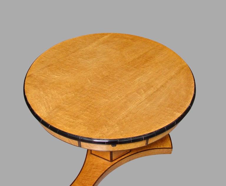 Austrian Biedermeier Satin Birch Ebonized Center Table with Hexagonal Base