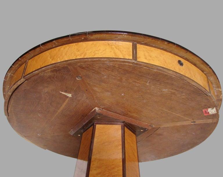 Biedermeier Satin Birch Ebonized Center Table with Hexagonal Base In Good Condition In San Francisco, CA