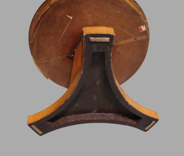 Early 19th Century Biedermeier Satin Birch Ebonized Center Table with Hexagonal Base