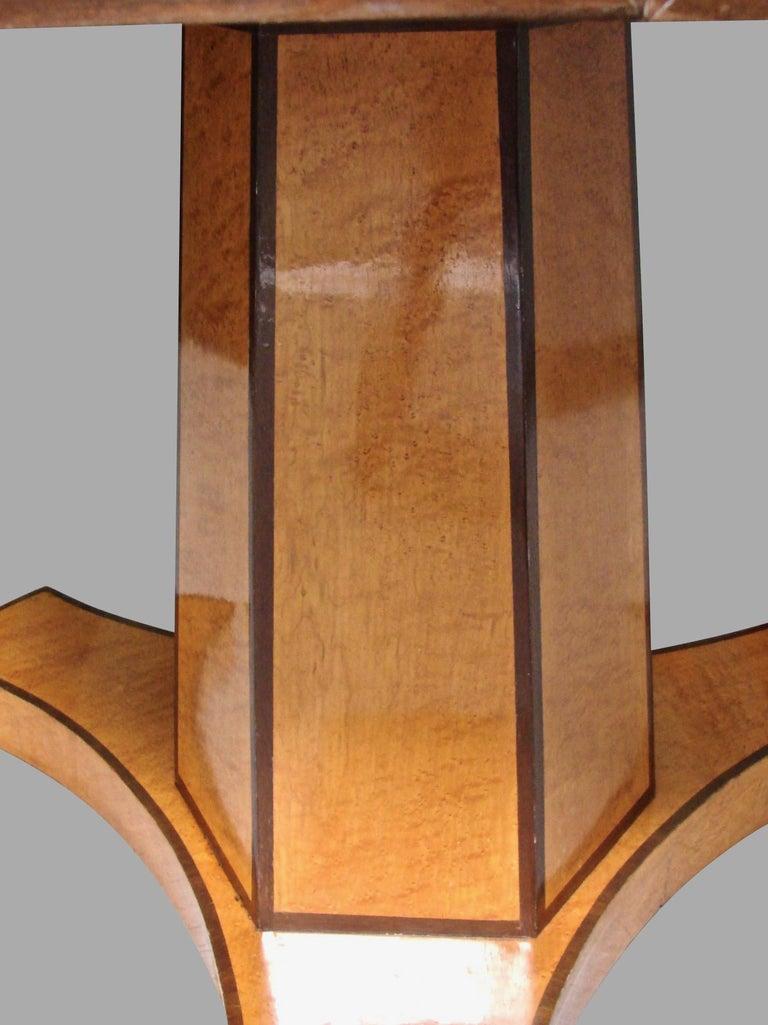 Satinwood Biedermeier Satin Birch Ebonized Center Table with Hexagonal Base