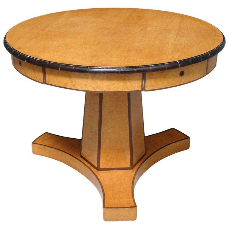 Biedermeier Satin Birch Ebonized Center Table with Hexagonal Base 1