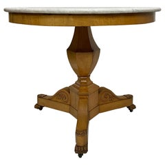Biedermeier Center Table with Marble Top, 19th Century