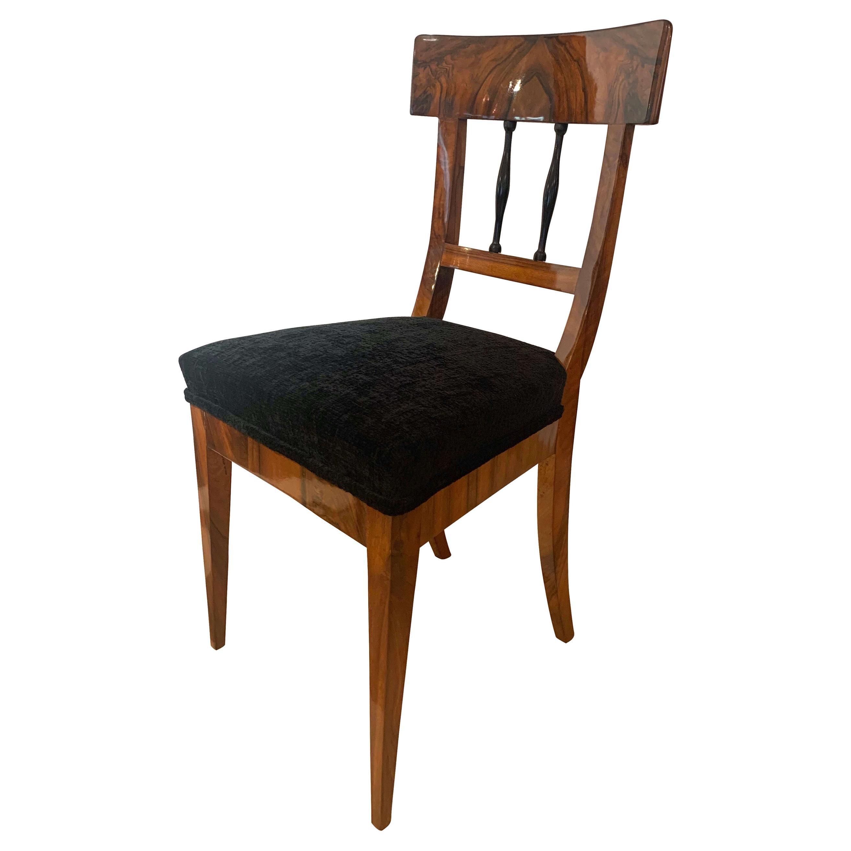 NeoclassicalBiedermeier Chairs, Walnut Veneer, Velvet, South Germany, circa 1820