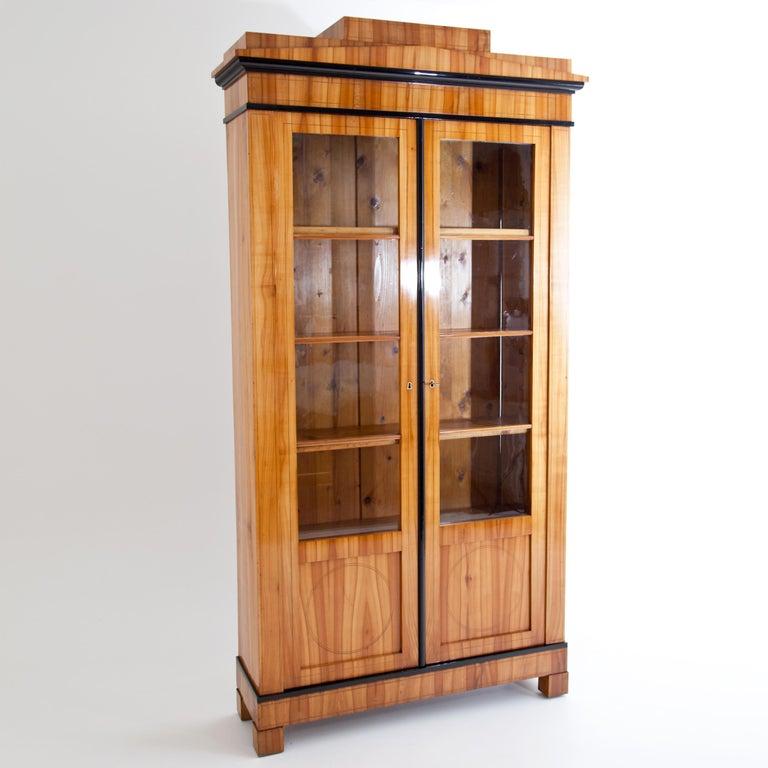 Biedermeier Cherry Bookcase, Saxony, circa 1820 In Good Condition For Sale In Greding, DE
