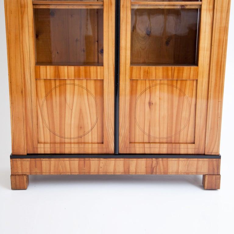 Glass Biedermeier Cherry Bookcase, Saxony, circa 1820 For Sale