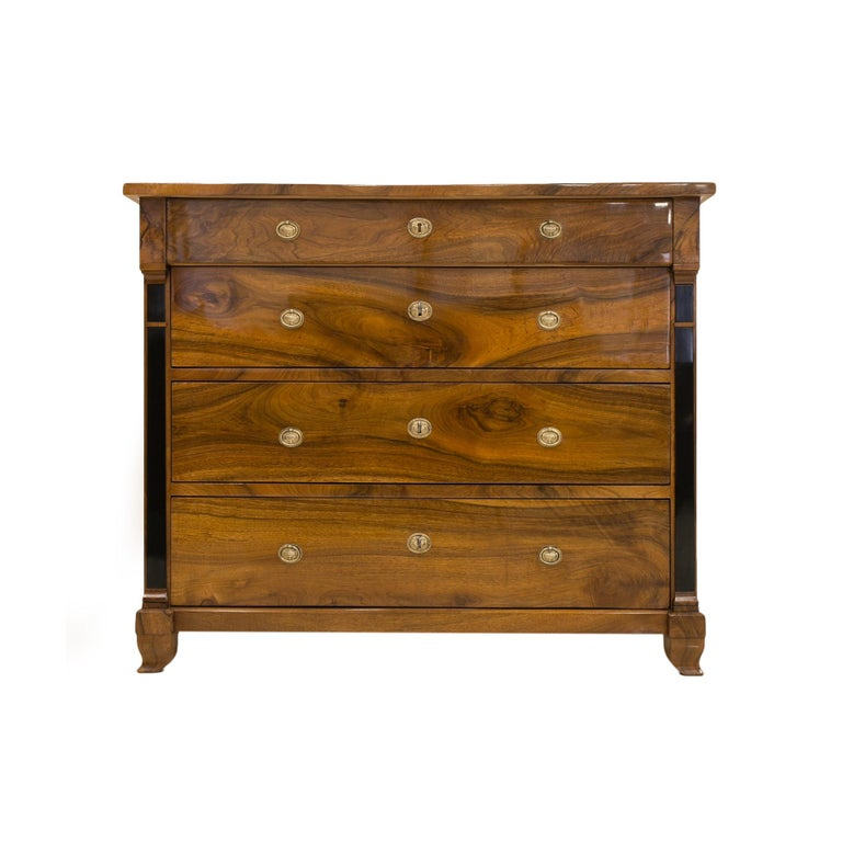 Polished Biedermeier Chest of Drawers in Walnut Wood, France, 19th Century For Sale