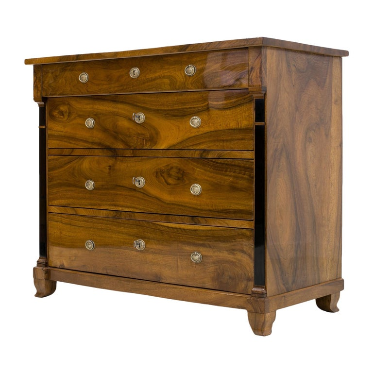 Biedermeier Chest of Drawers in Walnut Wood, France, 19th Century For Sale