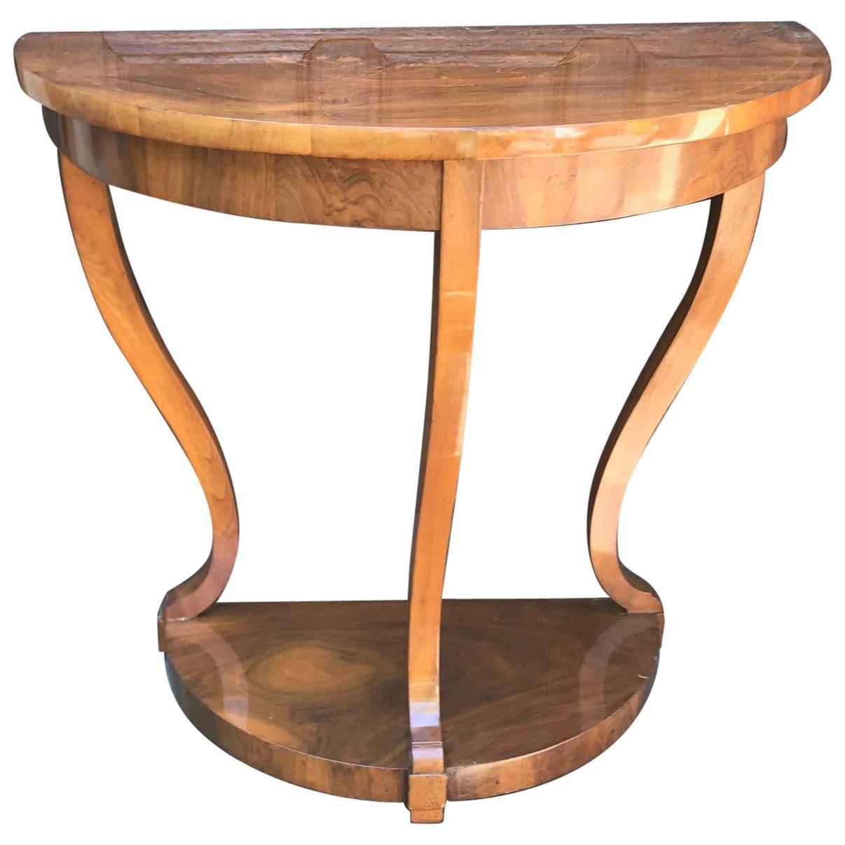 Biedermeier Console Table, Walnut Veneer, South German, 1820