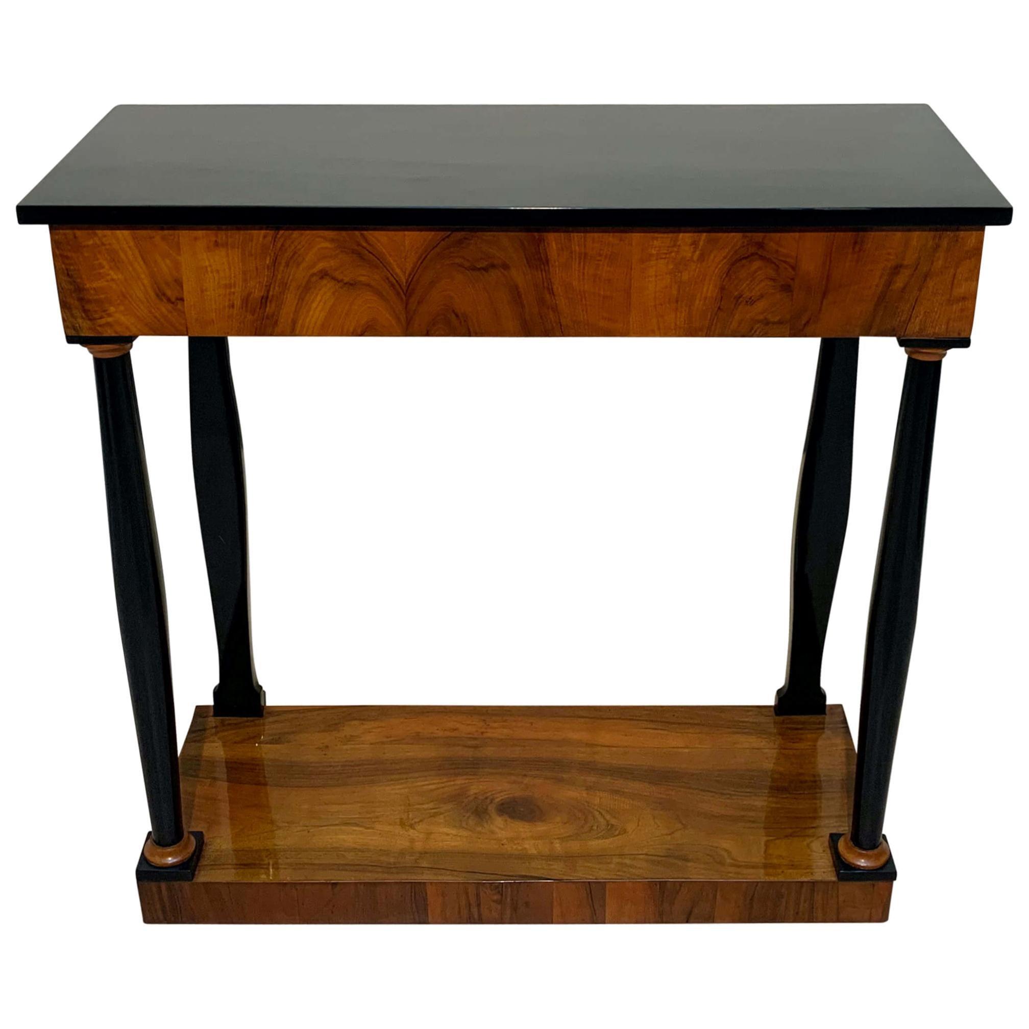 Neoclassical Biedermeier Console Table, Walnut Veneer, South Germany, circa 1820