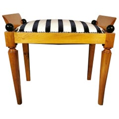 Biedermeier Danish Bench in Elm Wood and Dedar Fabric