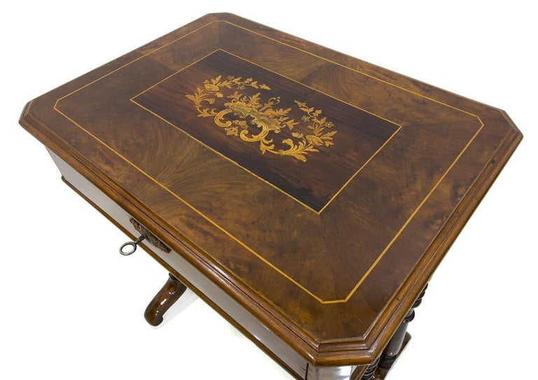 Wood Biedermeier Decorative Thread Table with Marquetry Details, France, circa 1820 For Sale