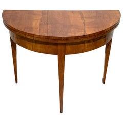 Biedermeier Demi-Lune Fold-Out Table, Cherry Veneer, South Germany, circa 1820