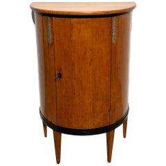 Biedermeier Demilune Half Cabinet, Cherrywood and Brass, France, circa 1810