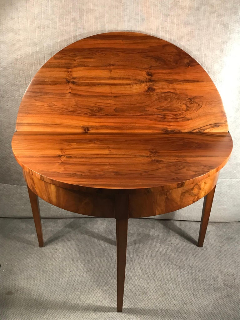 German Biedermeier Demilune Table, 1820, Walnut Veneer For Sale