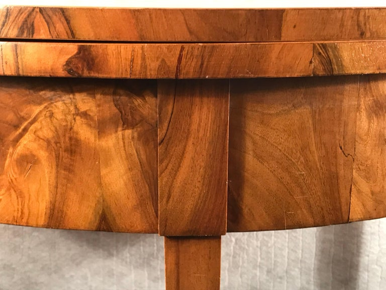 Early 19th Century Biedermeier Demilune Table, 1820, Walnut Veneer For Sale