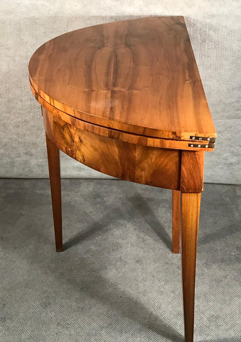 Biedermeier Demilune Table, 1820, Walnut Veneer For Sale 1