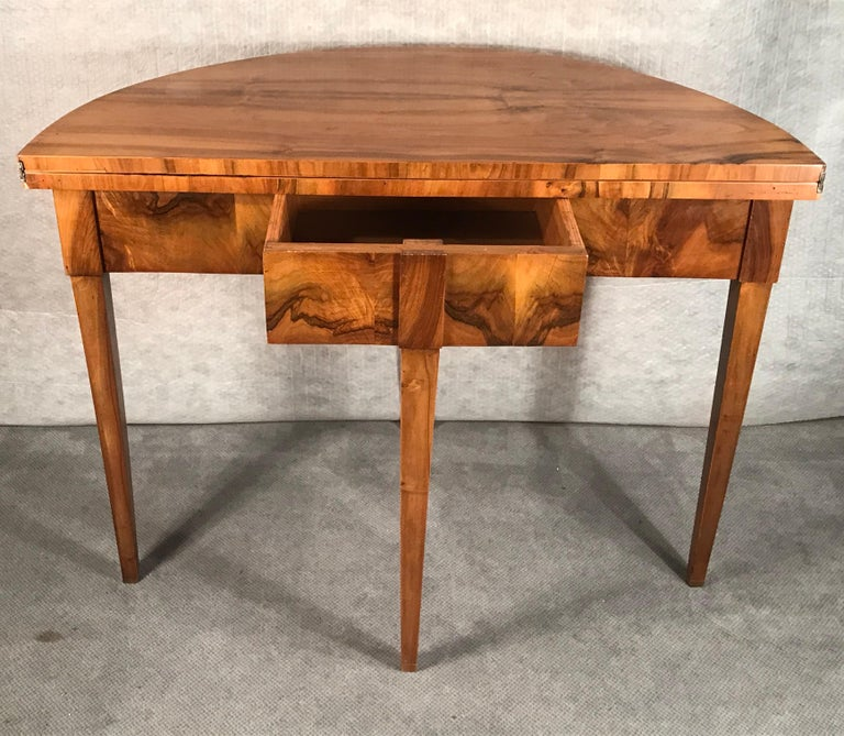 Biedermeier Demilune Table, 1820, Walnut Veneer For Sale 2