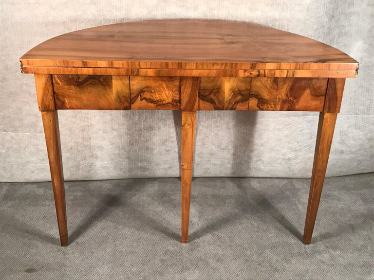 Biedermeier Demilune Table, 1820, Walnut Veneer For Sale 3