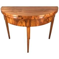 Biedermeier Demilune Table, 1820, Walnut Veneer