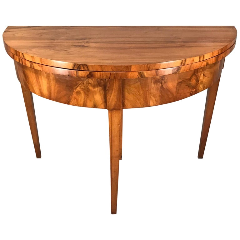 Biedermeier Demilune Table, 1820, Walnut Veneer For Sale