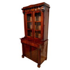 Biedermeier Display Cabinet / Vitrine, Mahogany, French Polish, Germany