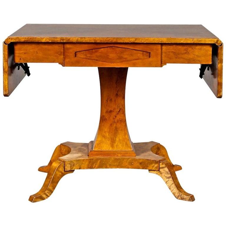 Biedermeier Drop-Leaf Pedestal Table Golden Birch Inlaid Honey Color Swedish For Sale