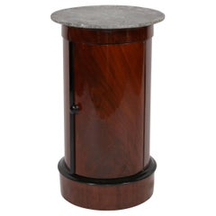 Biedermeier Drumtable, Polished Mahogany and Marble, France, circa 1830