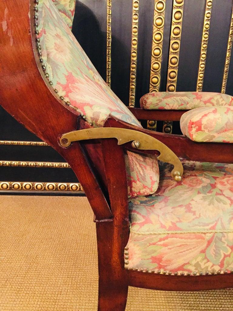 Biedermeier Ears Armchair to Recliner Armchair from 1820 For Sale 12