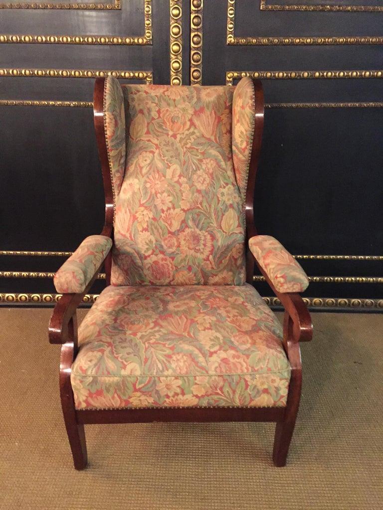 Mahogany Biedermeier Ears Armchair to Recliner Armchair from 1820 For Sale